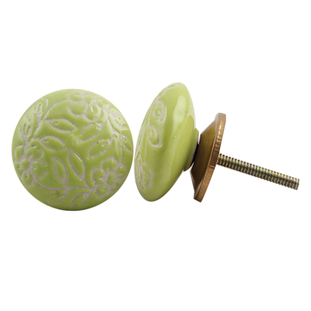 Lime Etched Flat Knob