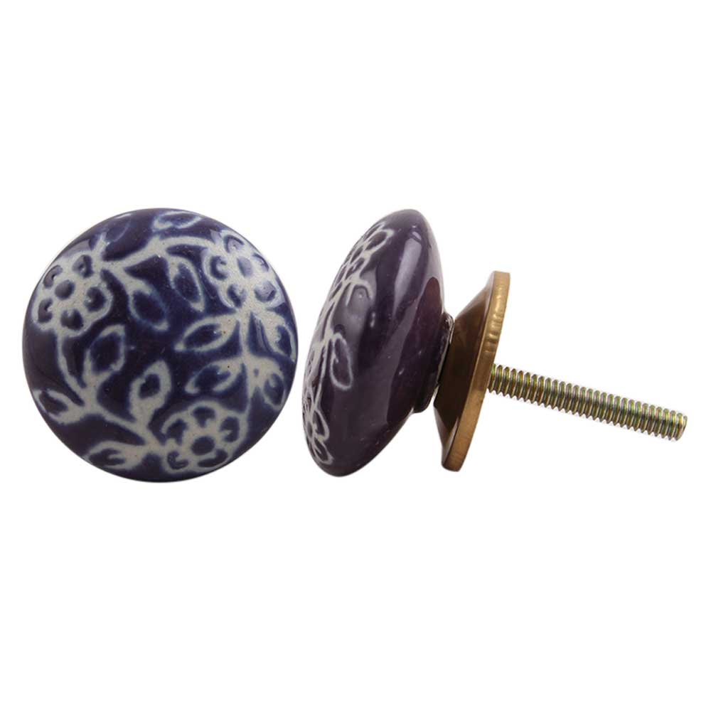 Purple Etched Flat Knob