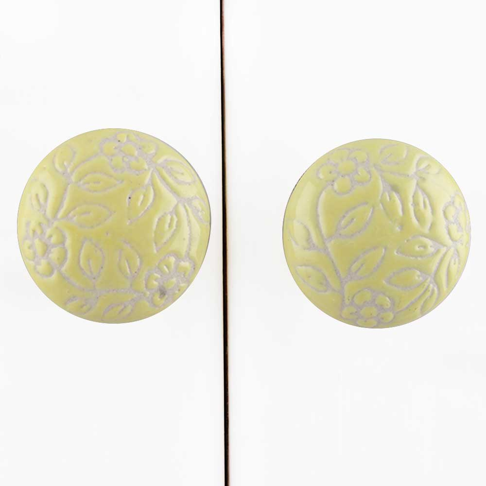 Yellow Etched Flat Knob