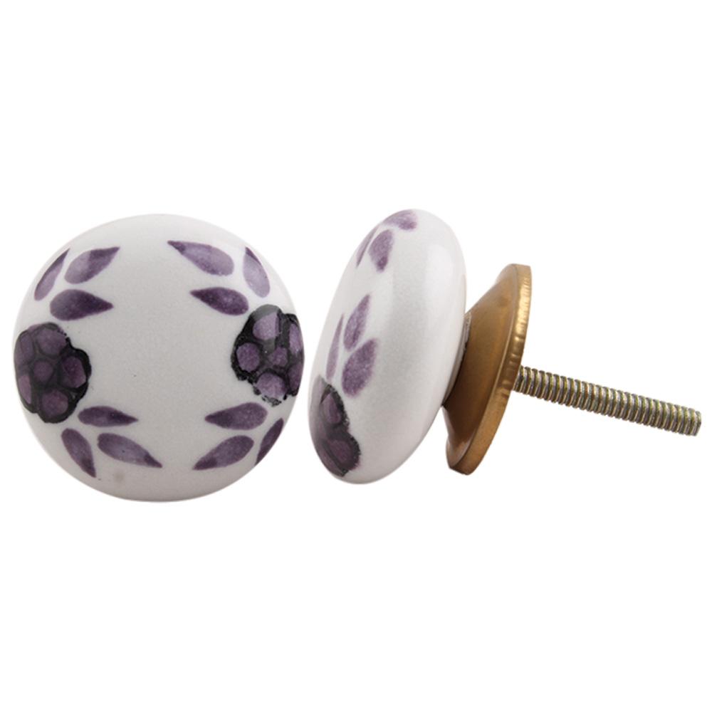 Purple Floral Knob