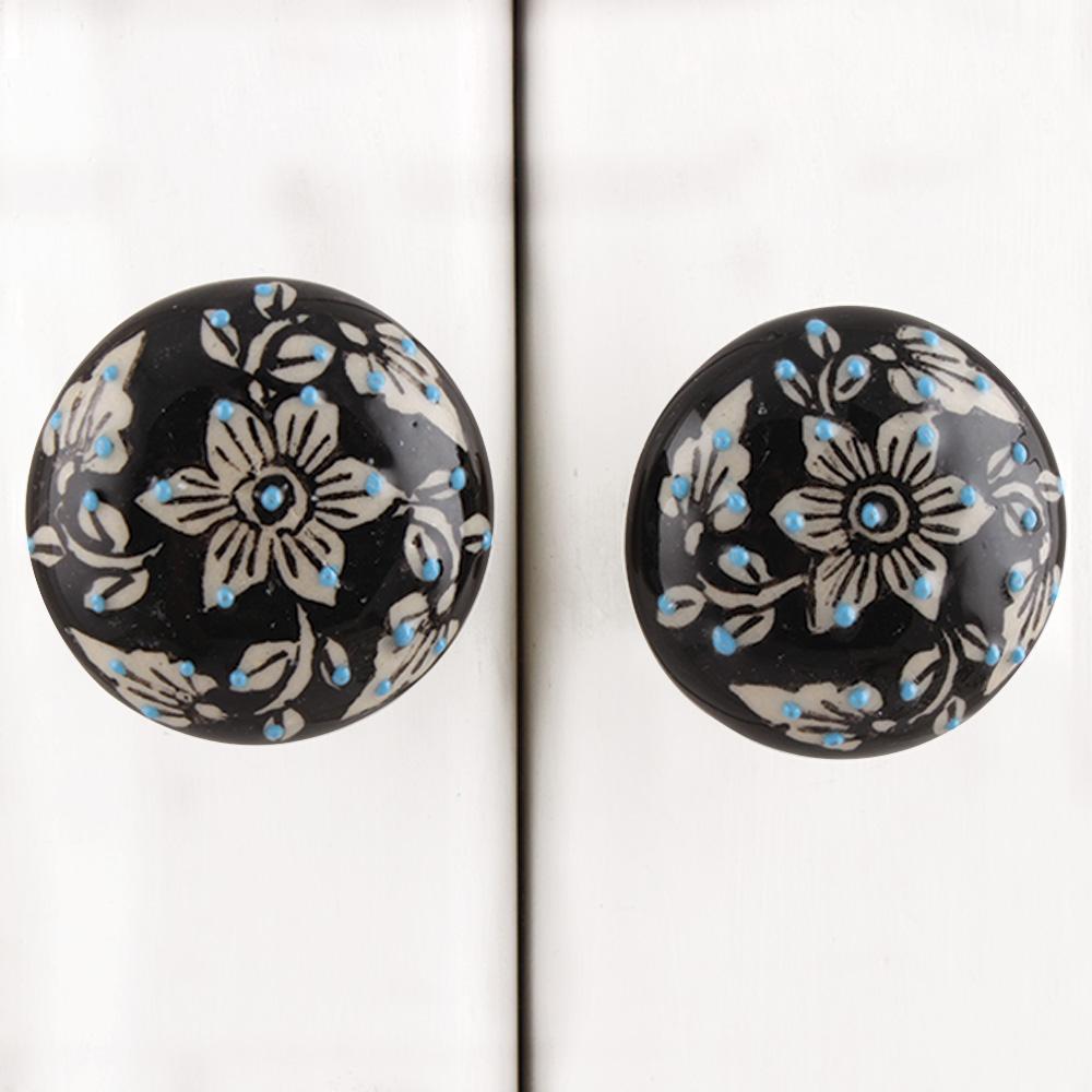 Black Floral Flat Knob