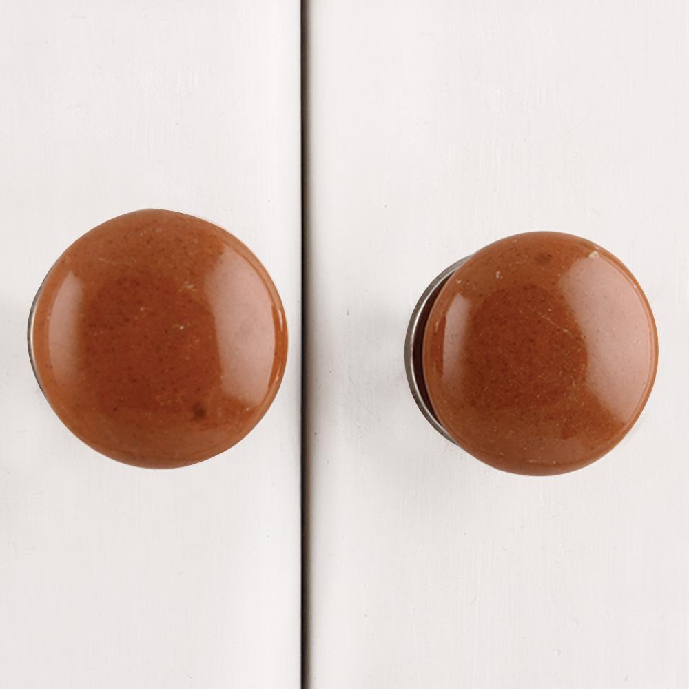 Brown Flat Medium Knob