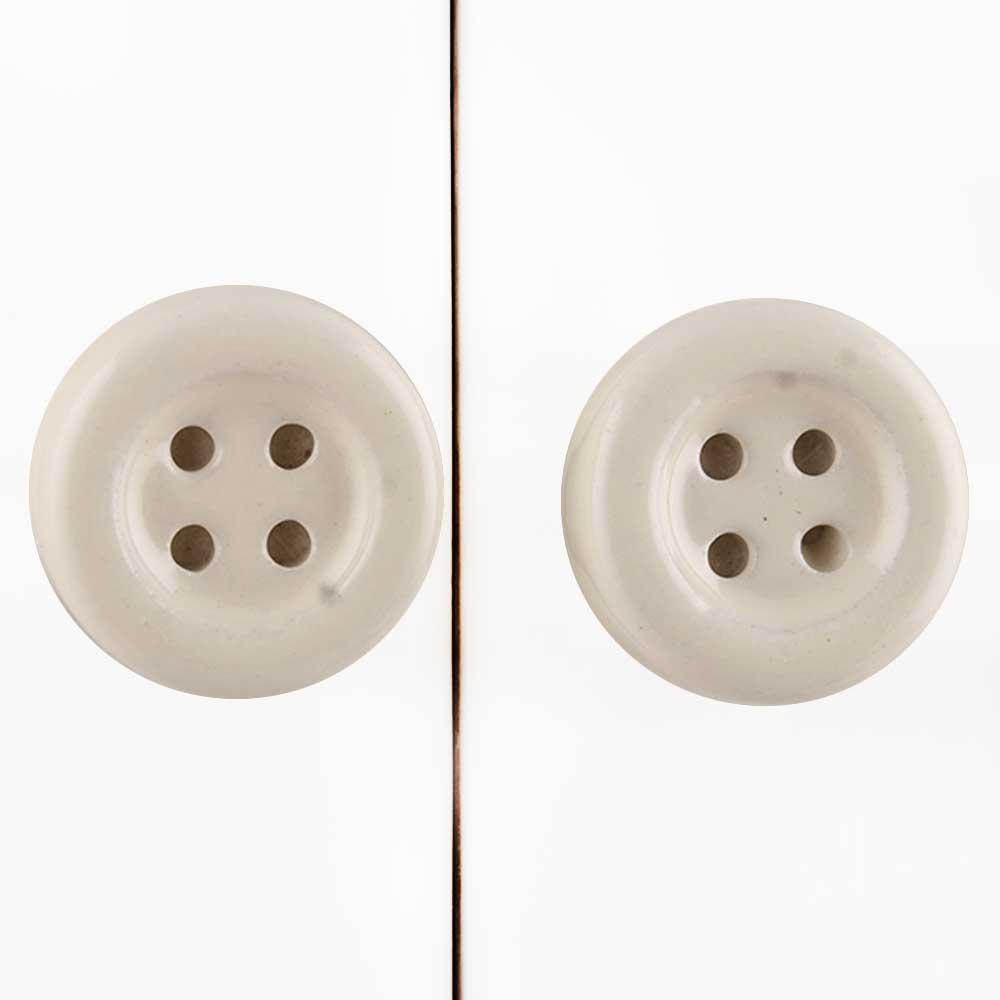 Cream Ceramic Button Knob