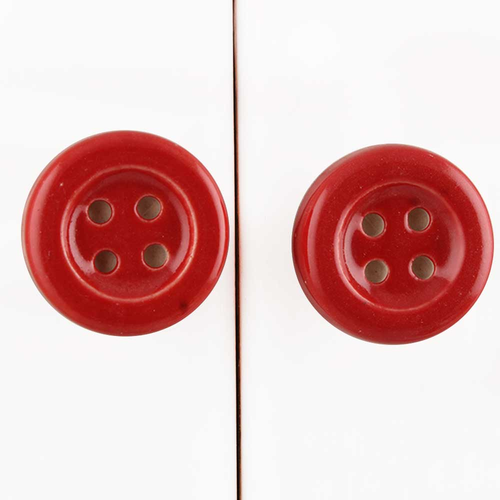 Red Ceramic Button Knob