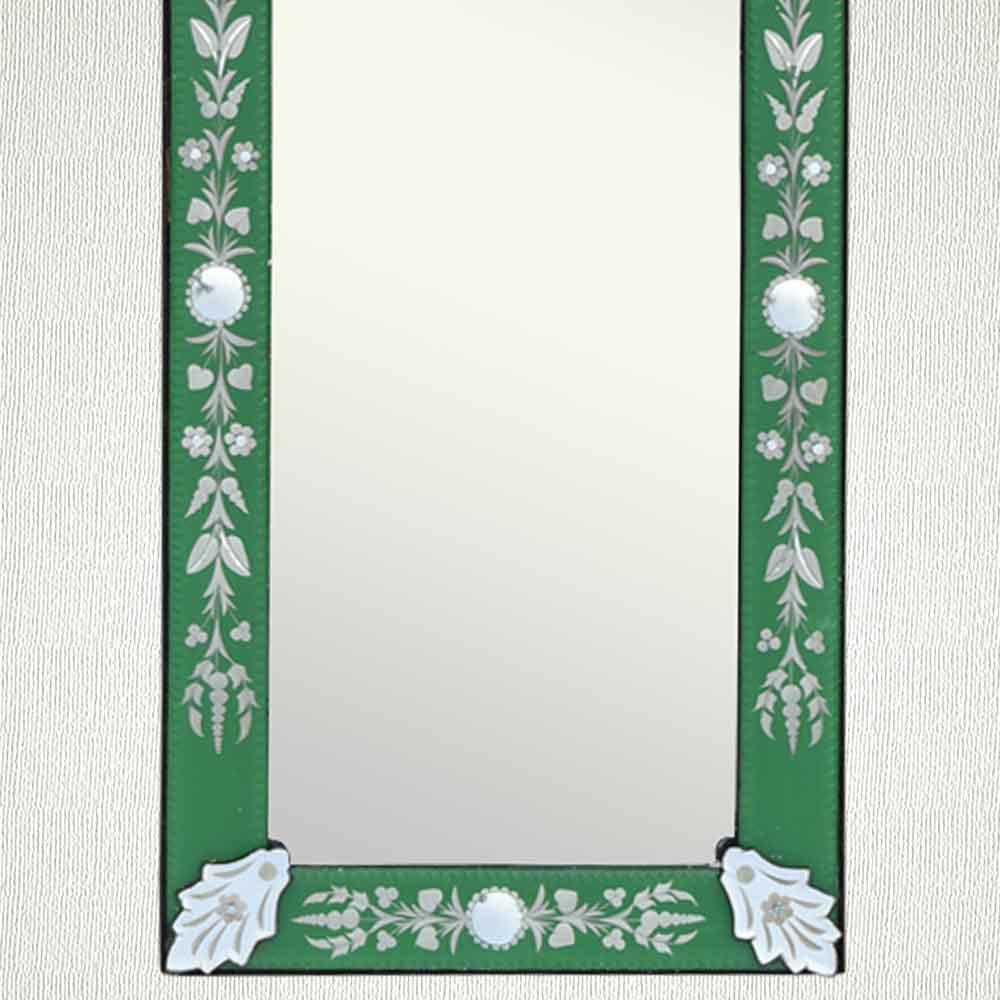Green Long Venetian Mirror-46.5 inches X 16 inches