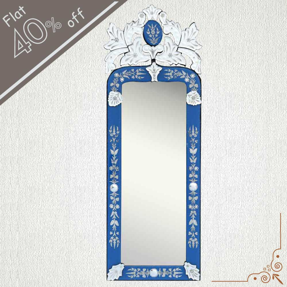 Blue Long Venetian Mirror-46.5 inches X 16 inches