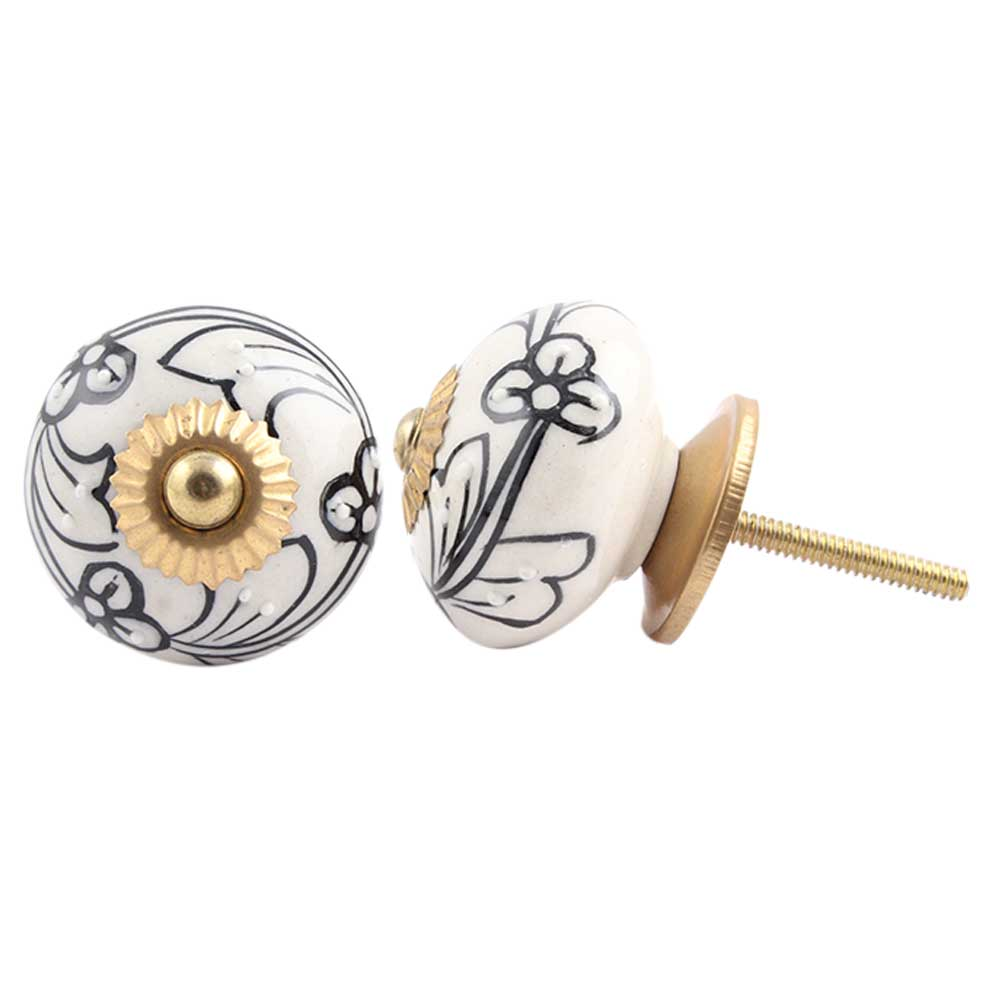 Black Leaf Ceramic Floral Knob