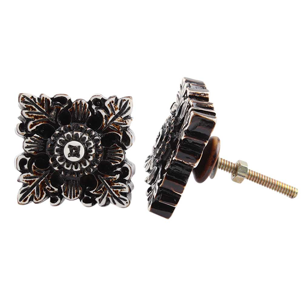 Chocolate Leaf Flower Square Cabinet Knob