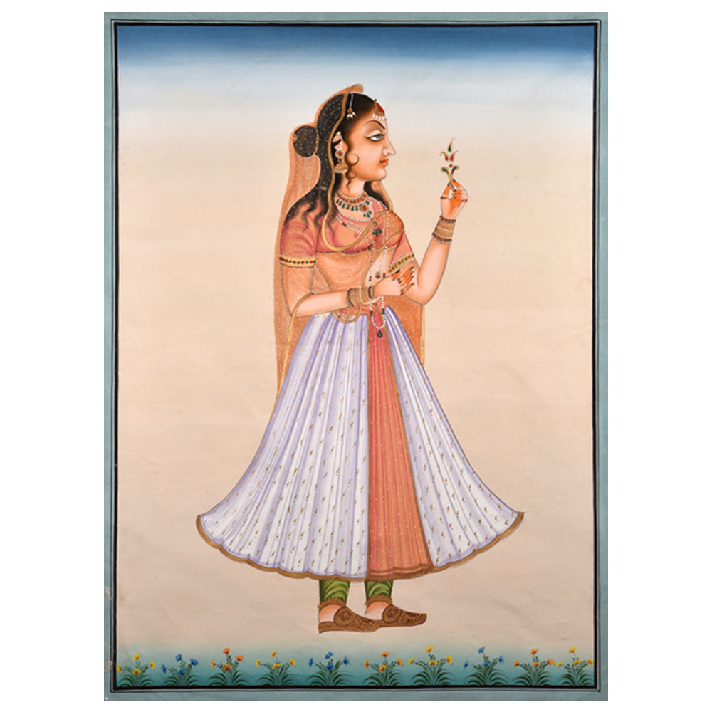 Handpainted Rajasthani Lady Painting