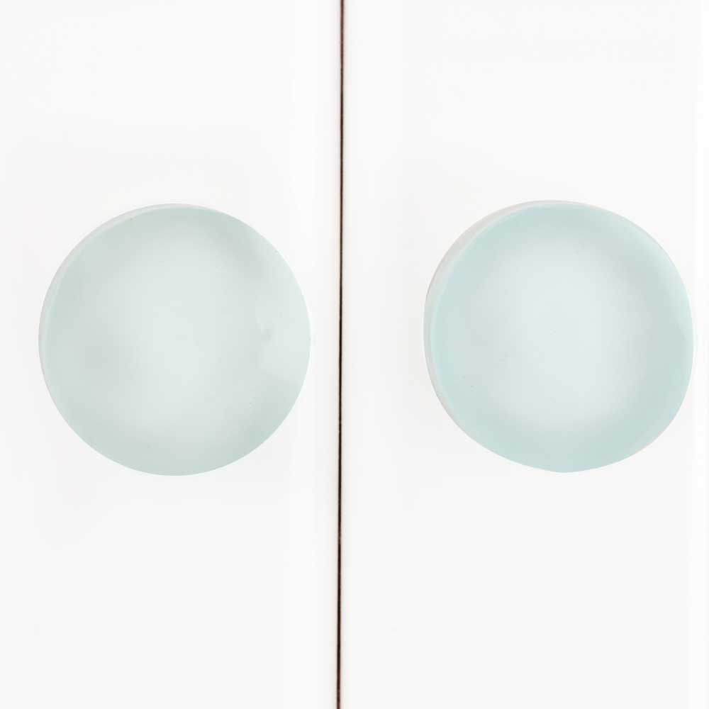 Aquamarine Glass Flat Cabinet Knobs
