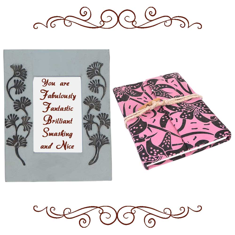 Black Flower Photoframe With Pink & Black Diary (Combo Pack)