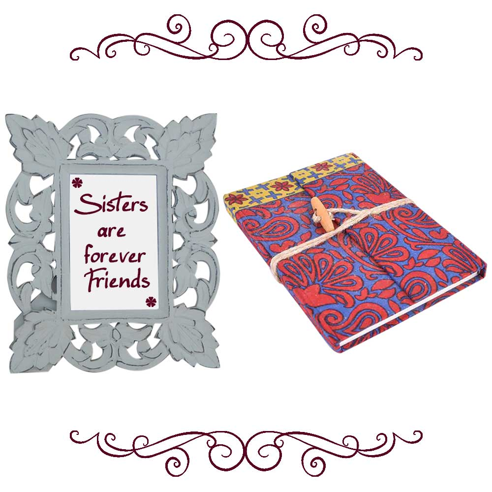 White Photo Frame With Red & Blue Diary (Combo Pack)