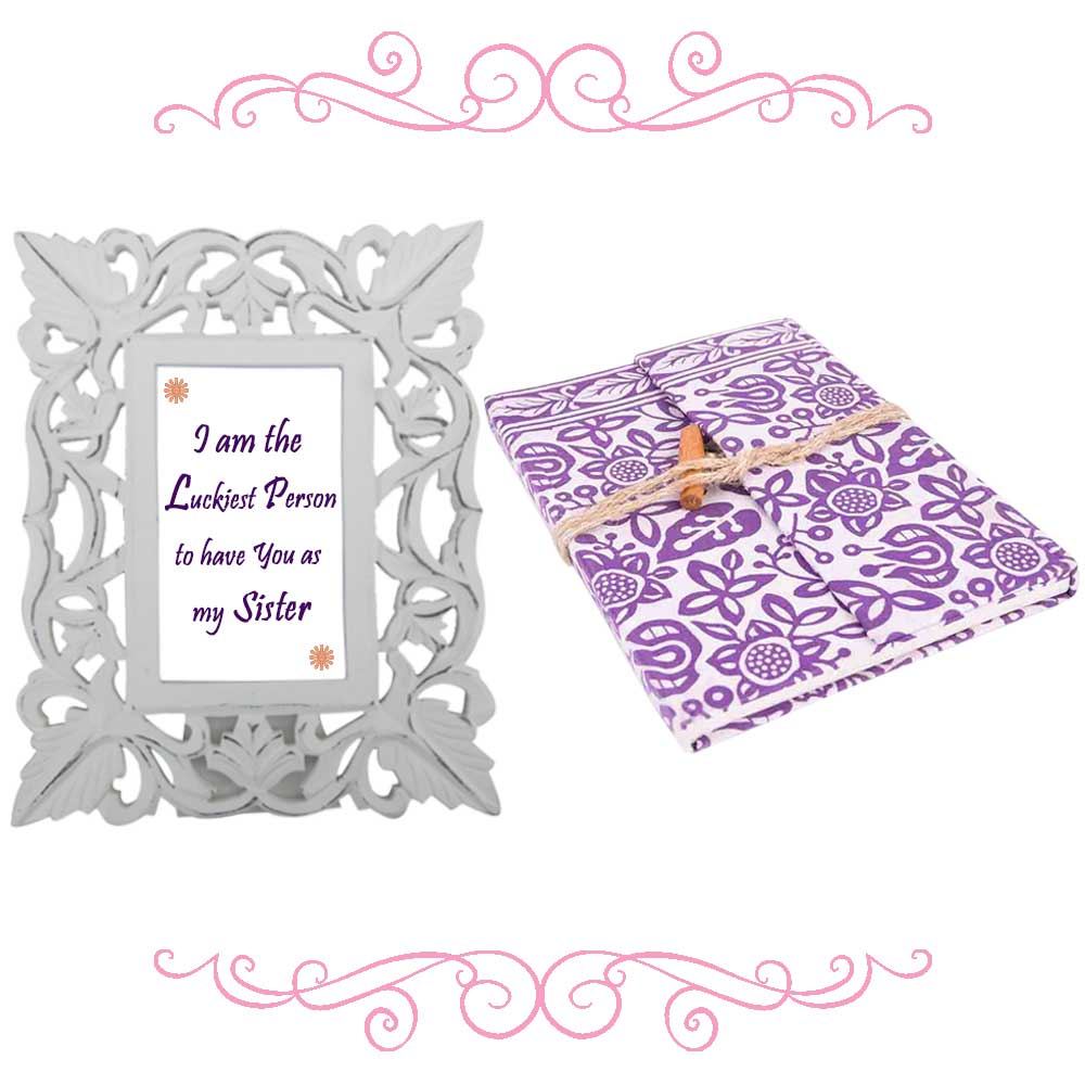 White Photoframe With Purple & White Diary (Combo Pack)