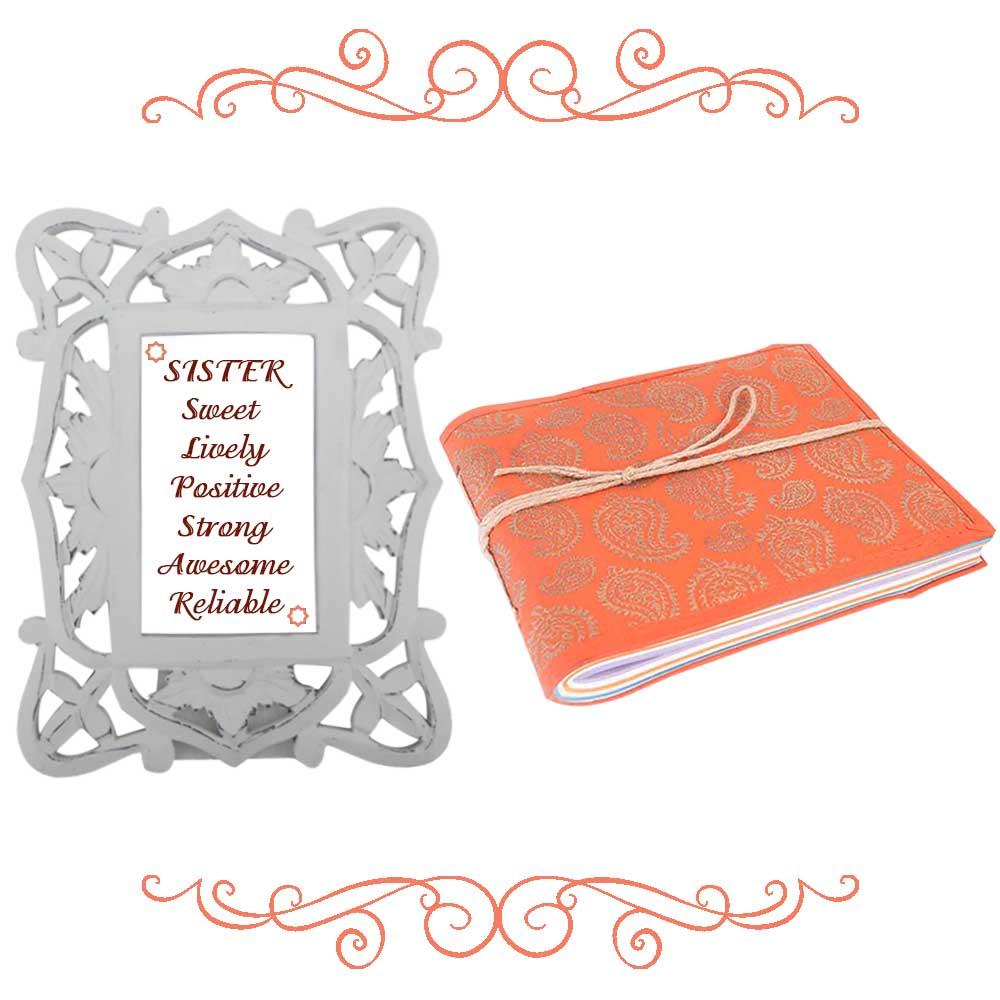 White Photoframe With Orange Diary (Combo Pack)