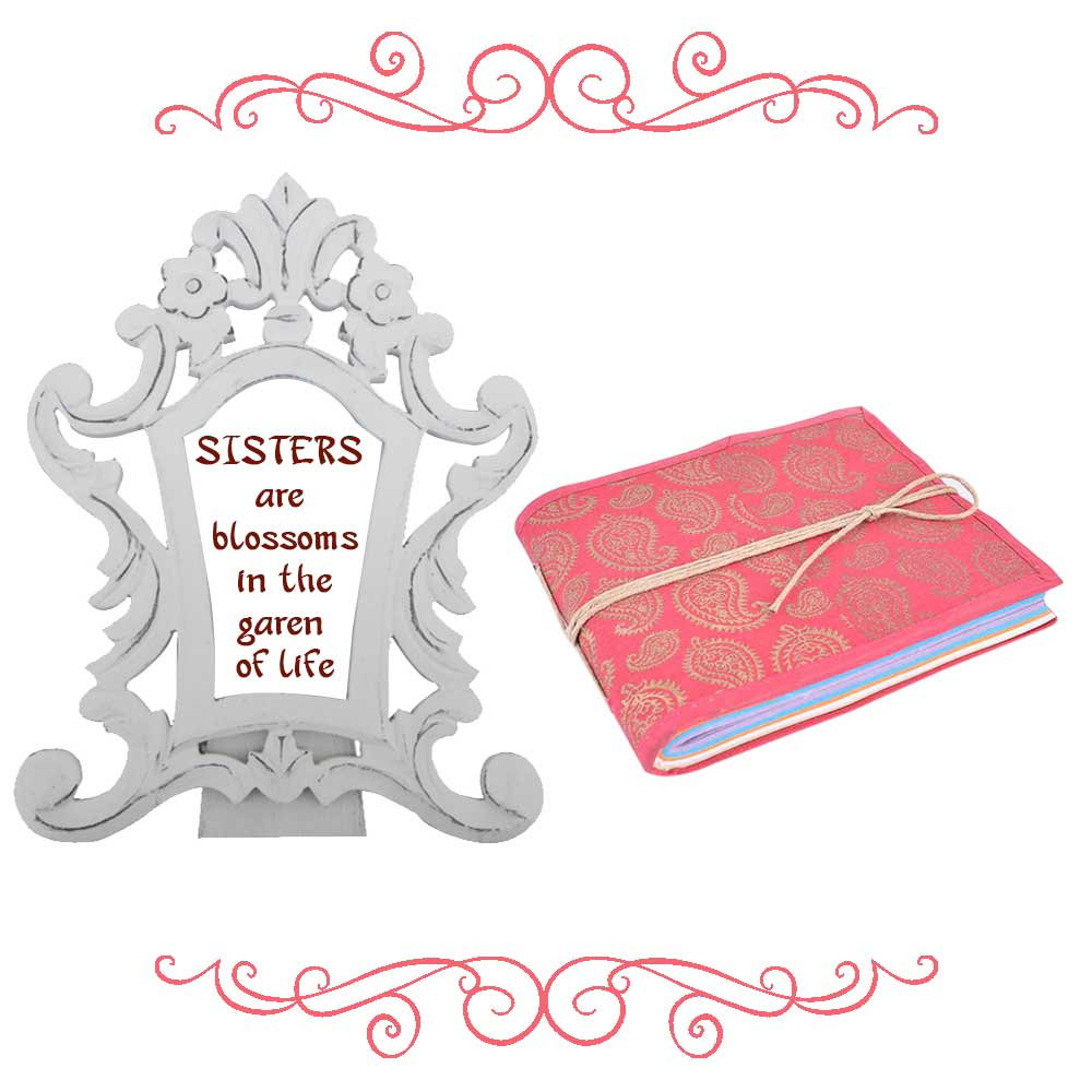 White Photoframe With Pink Diary (Combo Pack)