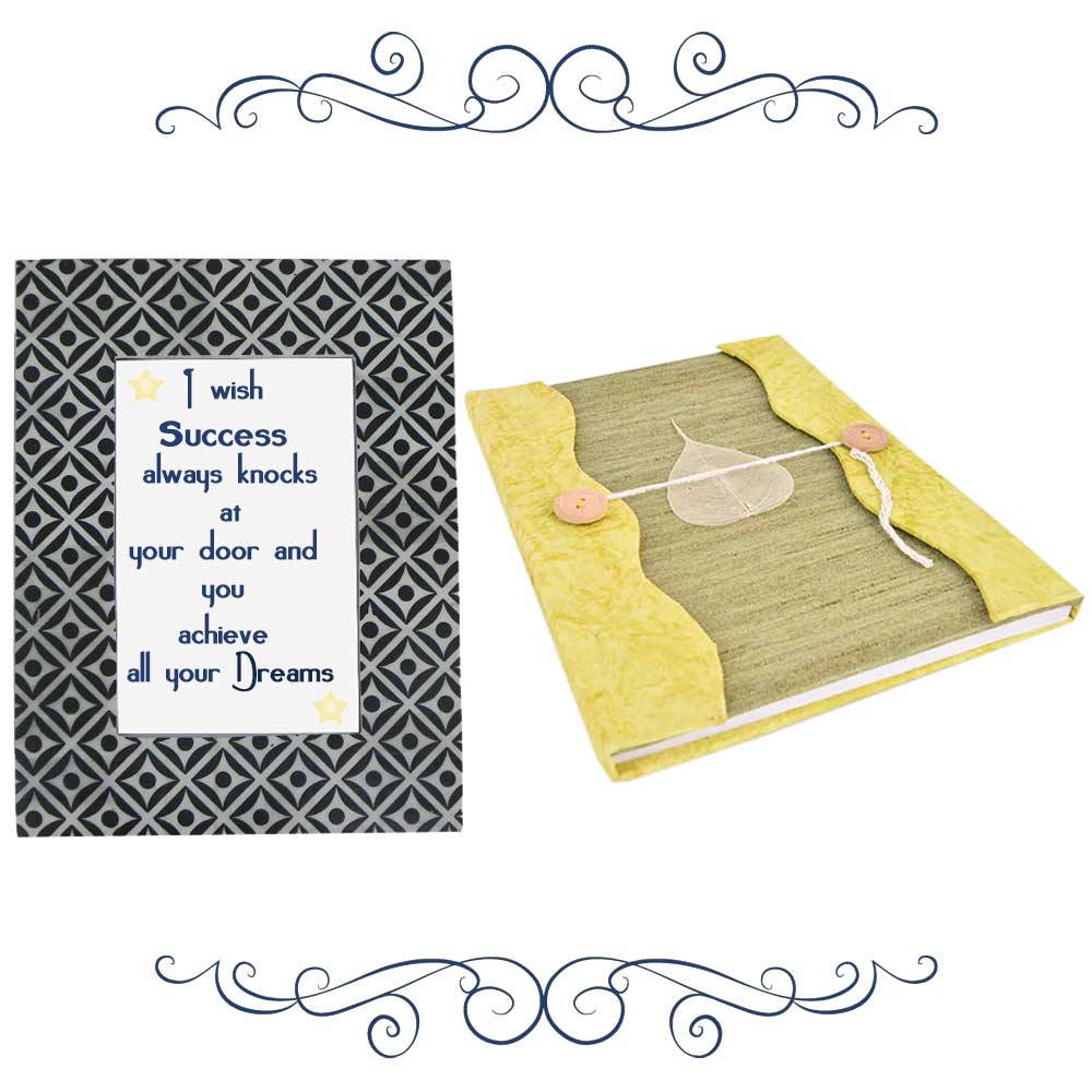 Black Grey Photoframe With Yellow Green Diary (Combo Pack)