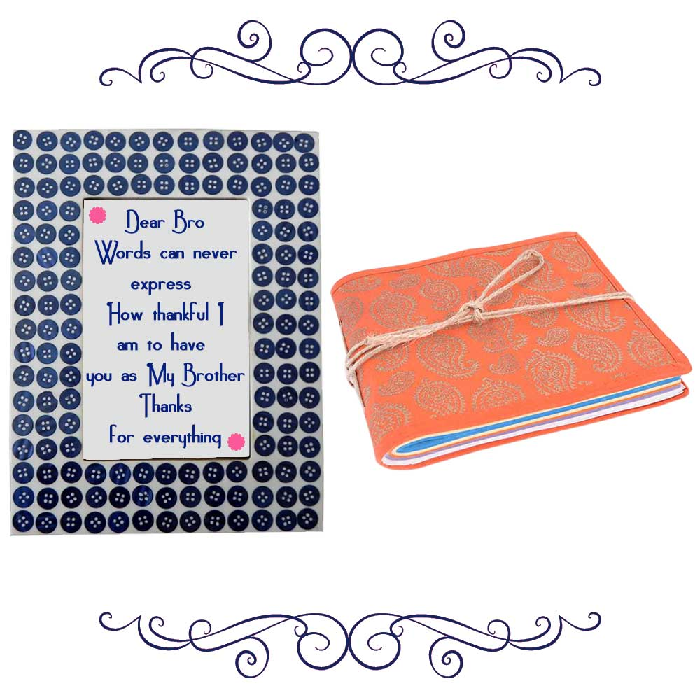 Navy Blue Button Photoframe With Orange Diary (Combo Pack)