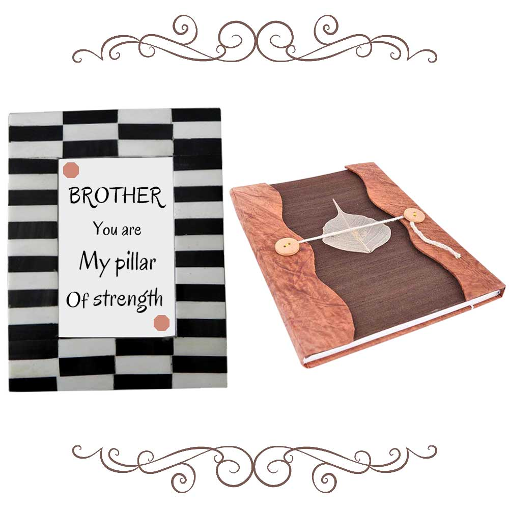 Black & White Striped Photoframe With Brown Diary (Combo Pack)