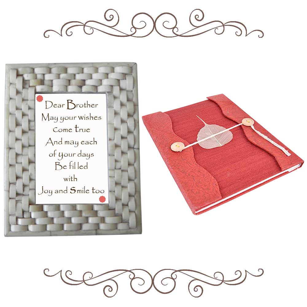 Grey Photoframe With Magenta Diary (Combo Pack)