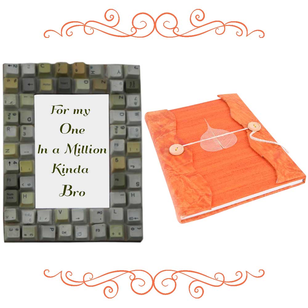 Computer Key Photoframe With Orange Diary (Combo Pack)