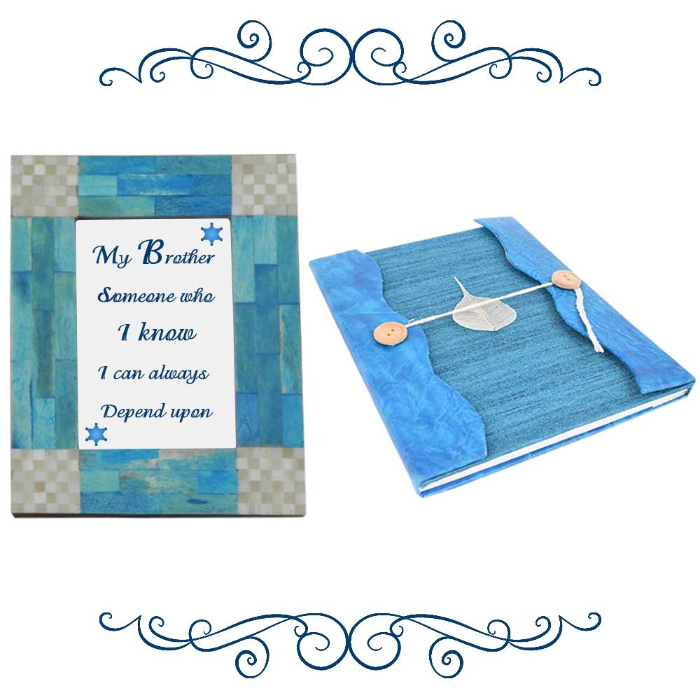 Blue & Grey Photoframe With Blue Diary (Combo Pack)