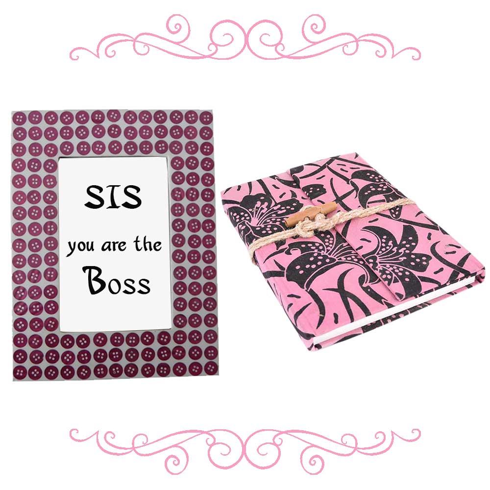 Pink Button Photoframe With Pink & Black Diary (Combo Pack)