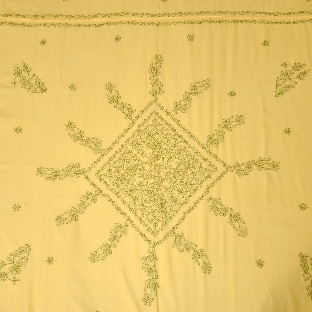 Yellow & Green Embroidered Bedsheet