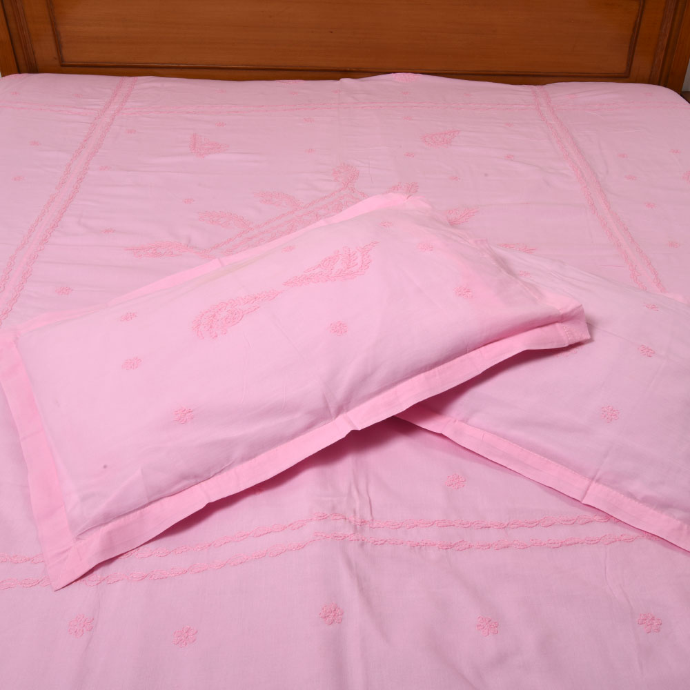 Pink Cotton Embroidered Bedcover
