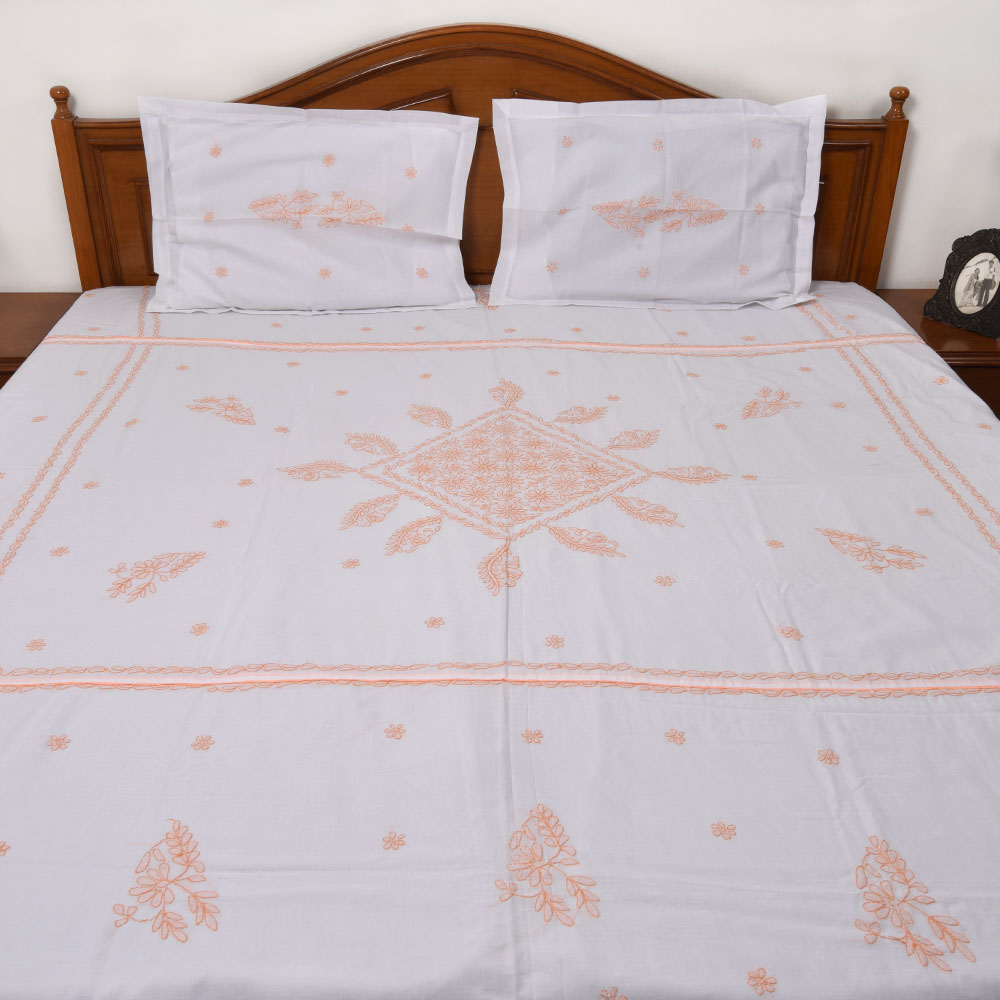 White & Peach Embroidered Bedsheet
