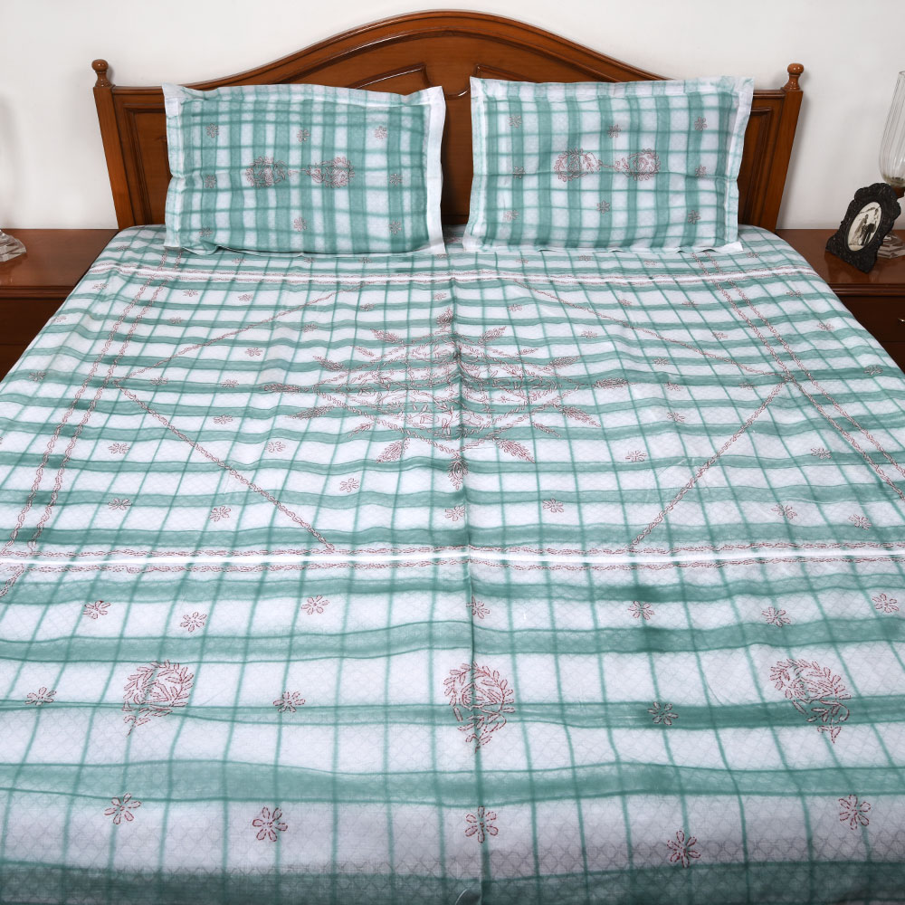 White & Green Double Bedsheet