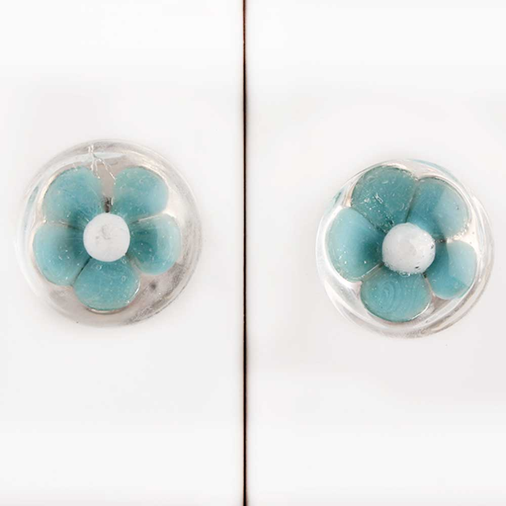 Sea Green Flower Cabinet Knob