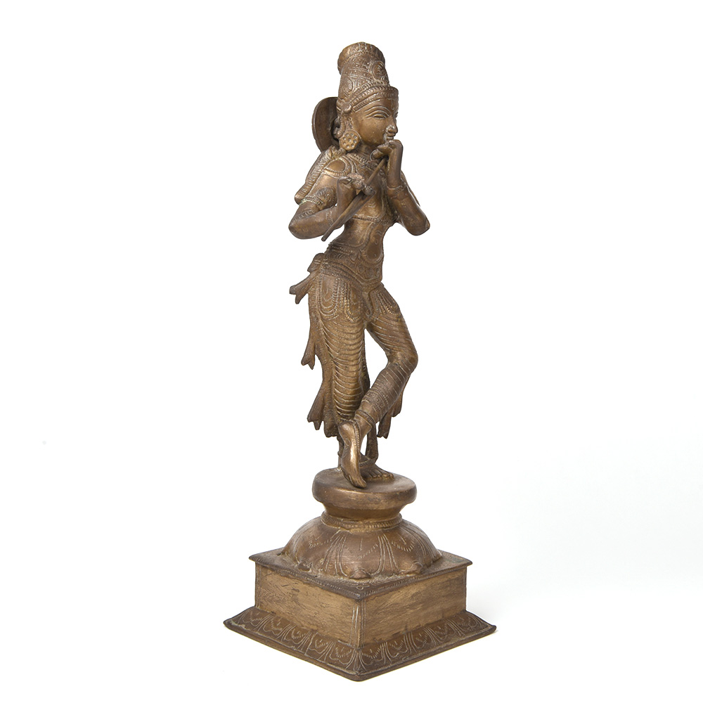 Bronze Krishna Playing Flute