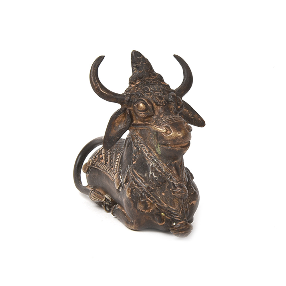 Bronze Sitting Bull Dhokra Art Sculpture