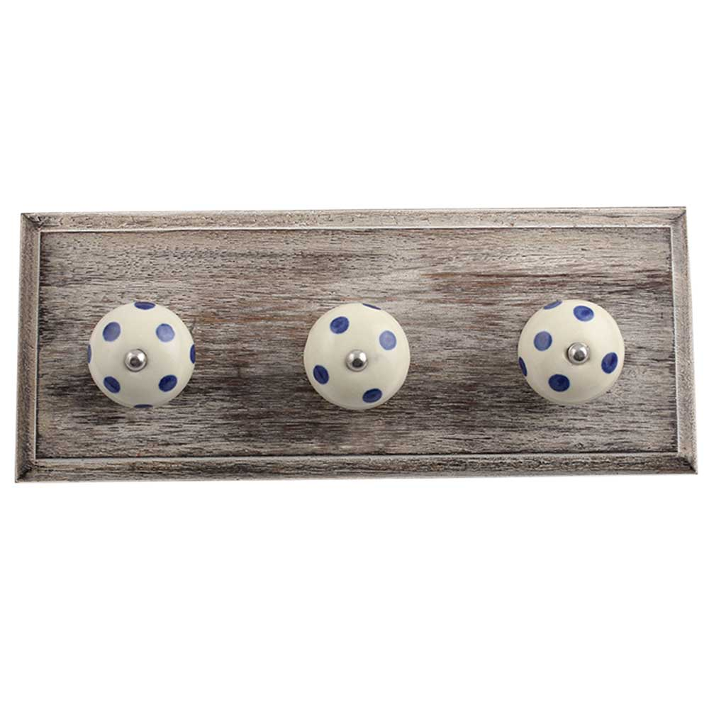 Cream Navy Blue Dot Wooden Hooks