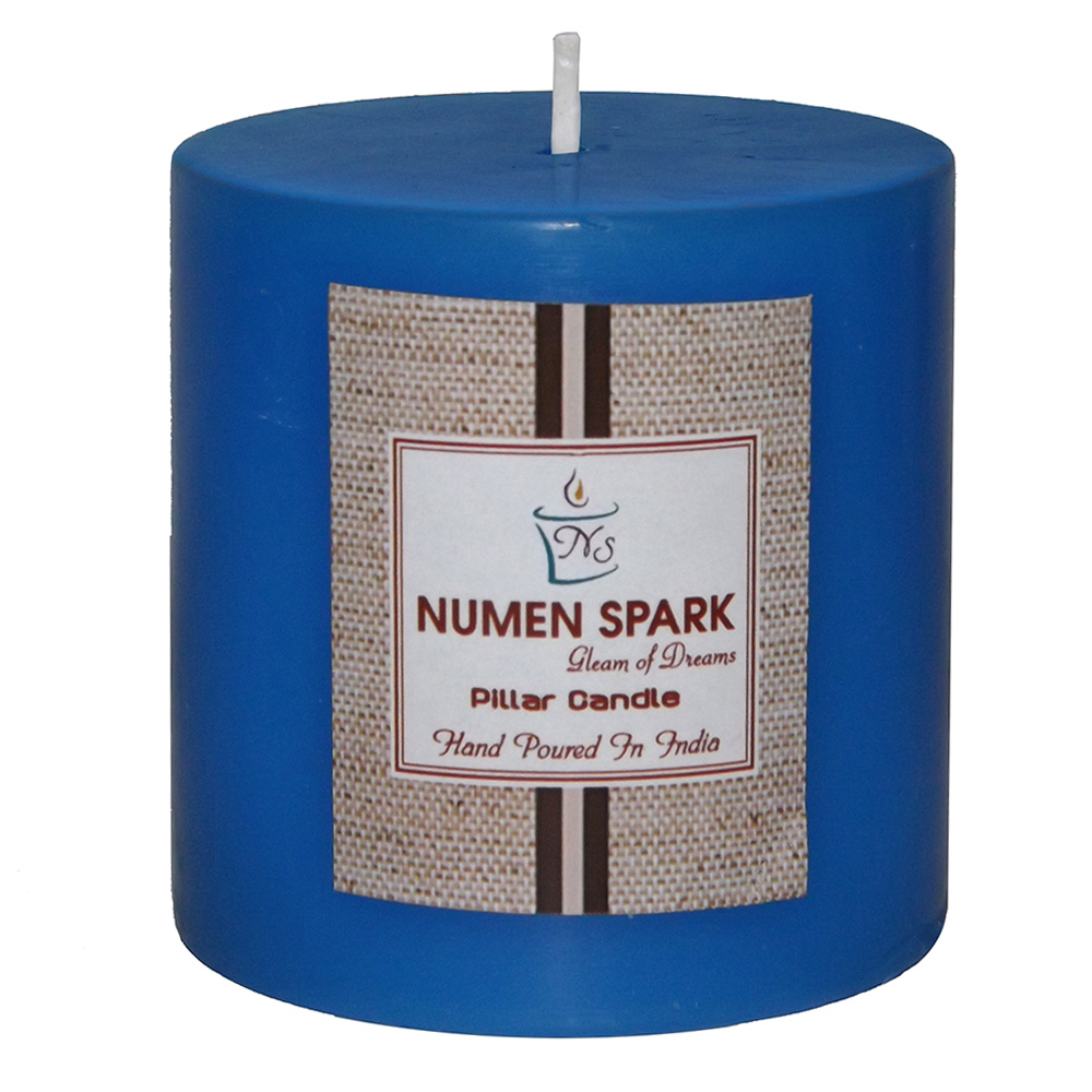 """Ocean Blue Scented Smooth Pillar Candle (3"""" X 3"""")"""