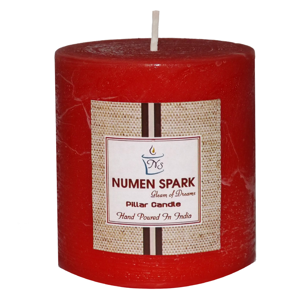"""Amour Rose Scented Rustic Pillar Candle (3"""" X 3"""")"""