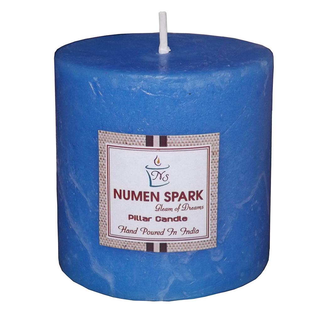 "Ocean Blue Scented Rustic Pillar Candle (3"" X 3"")"
