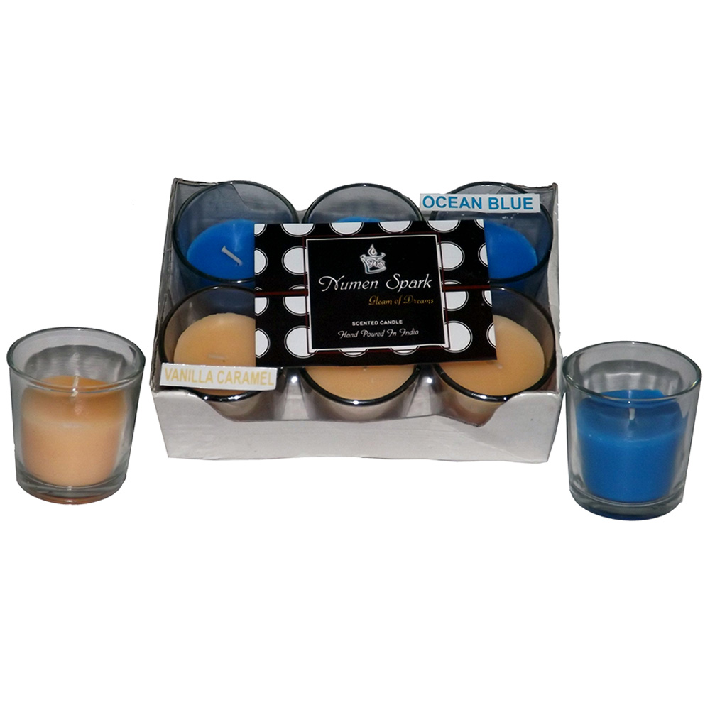 Vanilla Caramel-Ocean Blue Dual-Scent Votive Candle (Pack of 6)