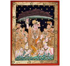 Lord Krishna Lifts Mountain Painting