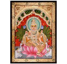 Gajalakshmi In Tanjore Painting