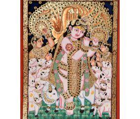 Flute�Krishna Tanjore Painting