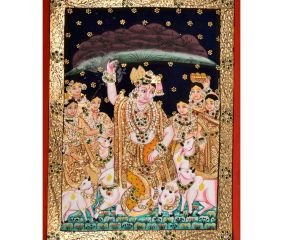 Lord Krishna Lifts Mountain Painting