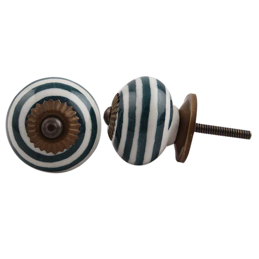Forest Green Striped Knob