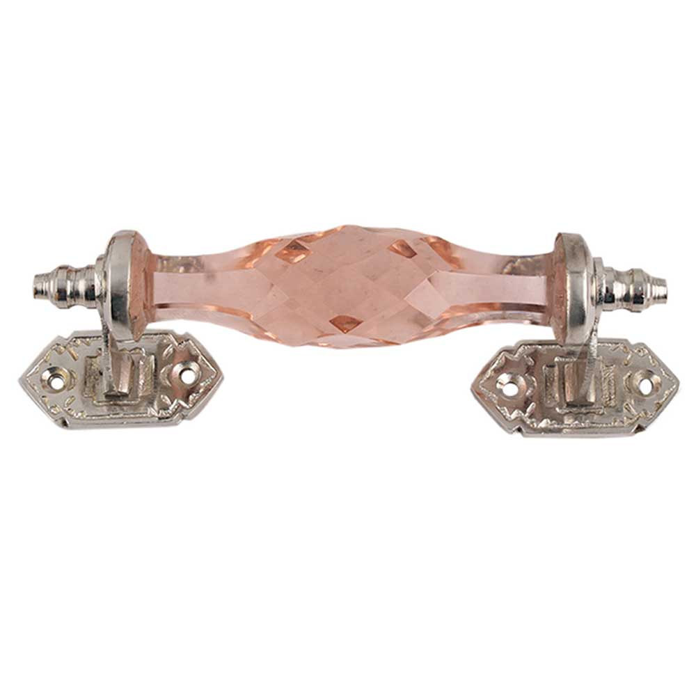 Pink Cut Glass Silver Small Door Handles