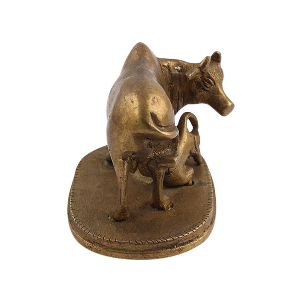 Cow and Calf Brass Sculpture
