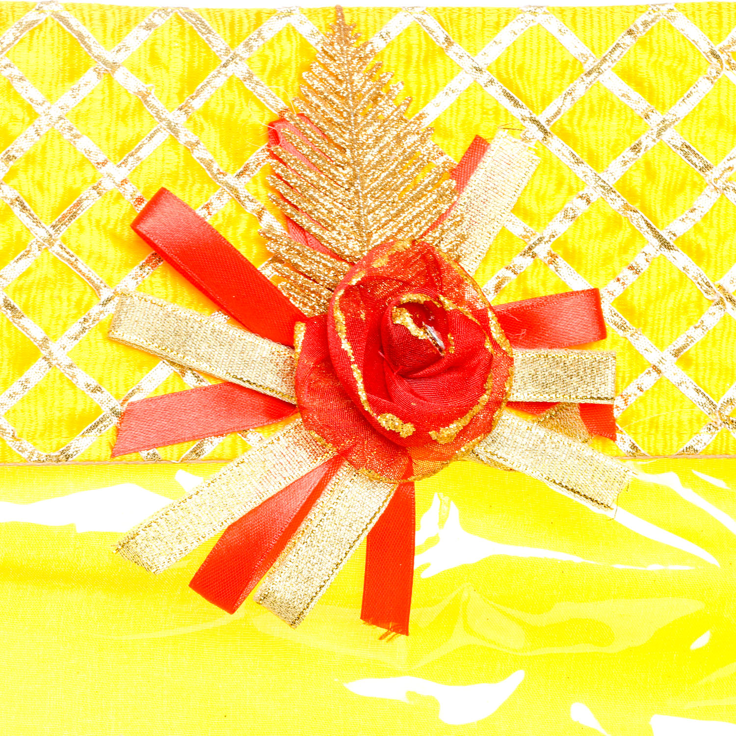 Geetanjali Decor yellow coloured saree cover with gota work and attractive broch