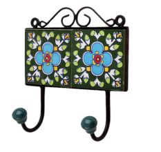 Green Floral Ceramic Tiles Hooks-462