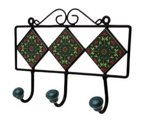 Green Floral Ceramic Tiles Hooks-466