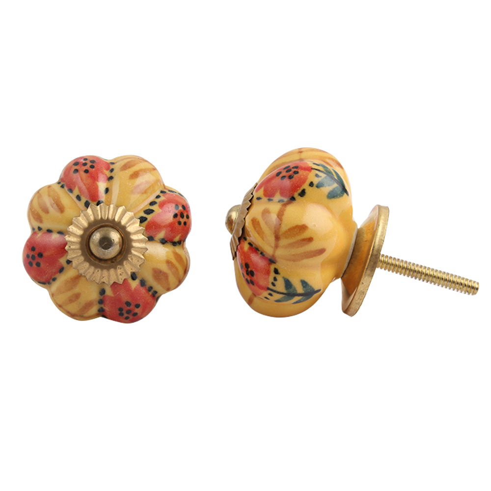 Brown Red Flower Knob