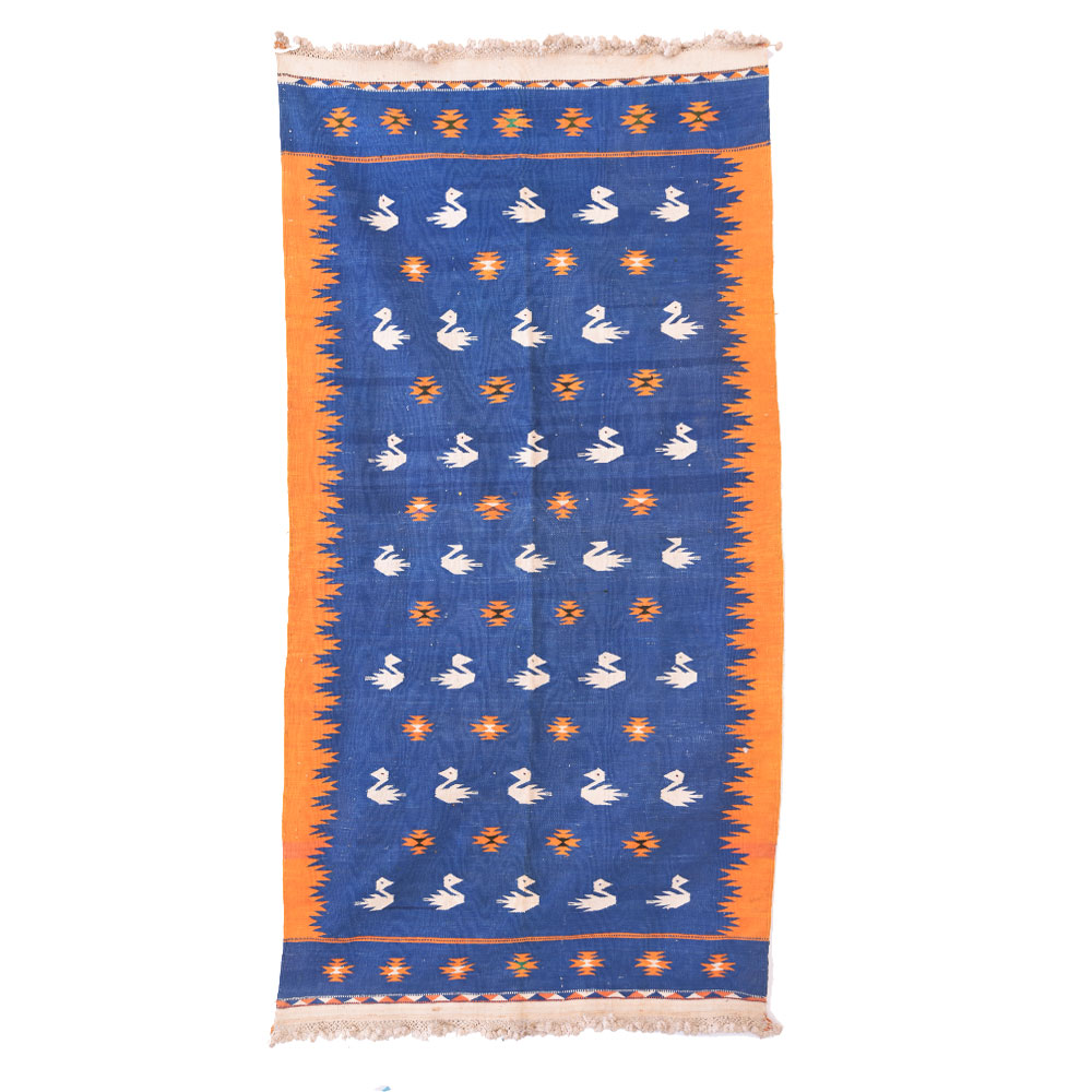 Blue Handmade Durry Floral Duck Design